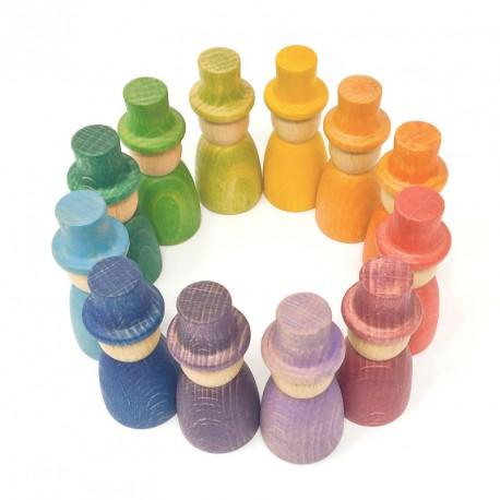 Nins Magos - 12 elementos de madera del color del arco iris