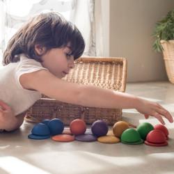 Lo Redondo - 30 piezas de madera colores arcoiris
