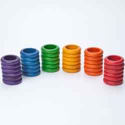 36 Anillas de madera en 6 colores arco iris