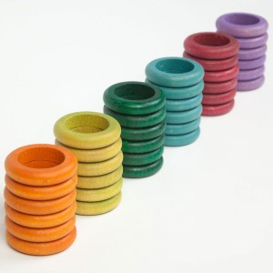 36 Anillas de madera en 6 colores