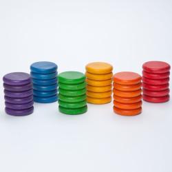 36 Monedas de madera en 6 colores arco iris