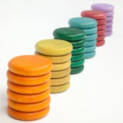 36 Monedas de madera en 6 colores