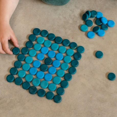 36 Monedas pequeñas de madera para mandalas - Azul