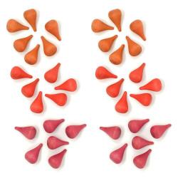 36 piezas en forma de fuego de madera para mandalas - Rojo