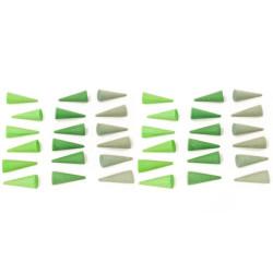 36 piezas en forma de cono de madera para mandalas - Verde