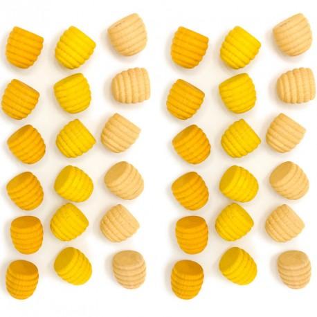 36 piezas en forma de panal de madera para mandalas - Amarillo