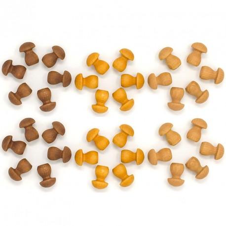 36 piezas en forma de seta de madera para mandalas - Marrón