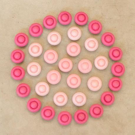 36 piezas en forma de flor de madera para mandalas - Rosa