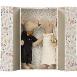 Pareja de Ratones el Novio y la Novia en caja de cartón