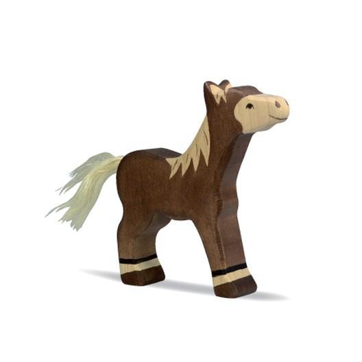 Potro de pie marrón oscuro - Animal de madera