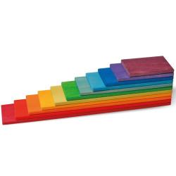 Tablas de construcción Arco Iris - 11 bloques de madera