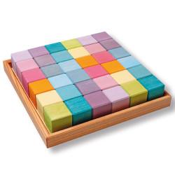 Set de construcción 36 piezas de madera colores pastel