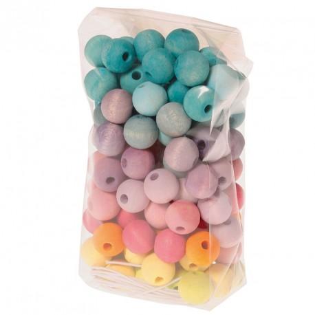 Bolsa con 120 Bolitas de madera para enhebrar - colores pastel