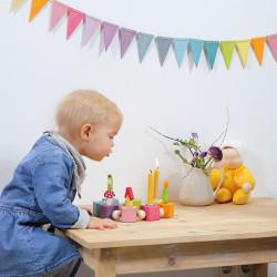 Banderines de madera para enhebrar - colores pastel