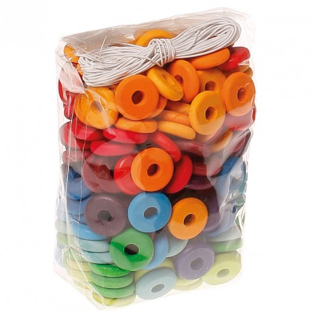 Bolsa con 240 discos arco iris de madera para enhebrar