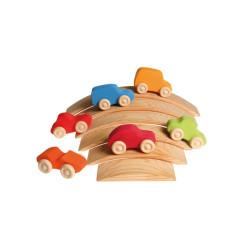 6 coches de madera de colores