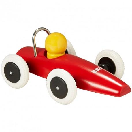 Coche clásico de carreras de madera - Rojo