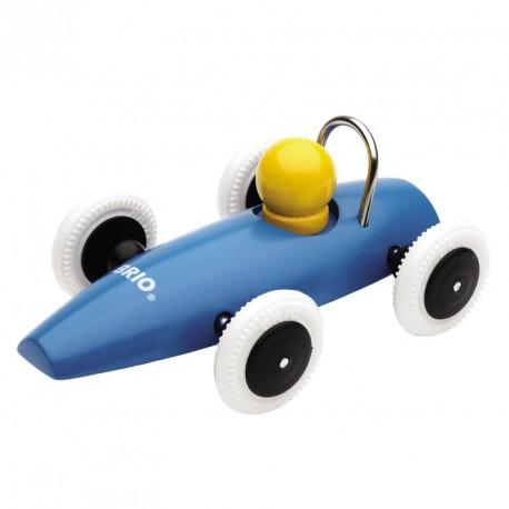 Coche clásico de carreras de madera - Azul