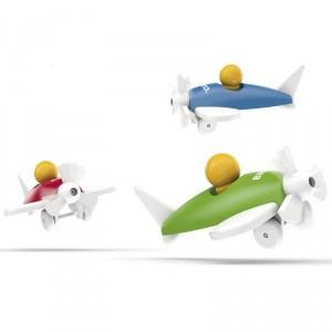 Avión clásico de madera - Azul
