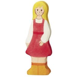 Niña Granjera - personaje de madera