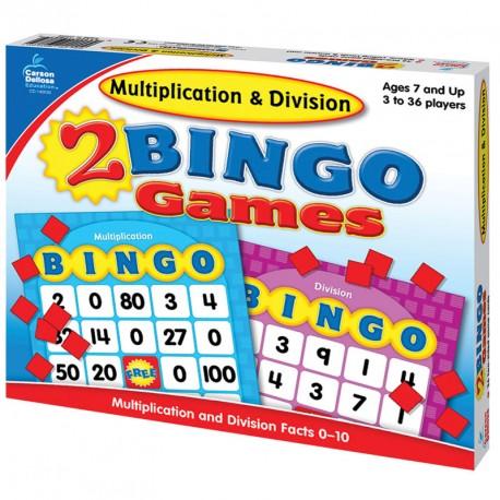 Bingo matemático - Multiplicar y dividir con factores del 0-10
