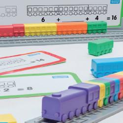 Locomotoras enlazables para contar vagones - juego de matemáticas para 1-4 jugadores