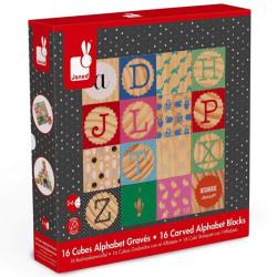 Kubix - 16 Cubos de madera natural abecedario con gravados