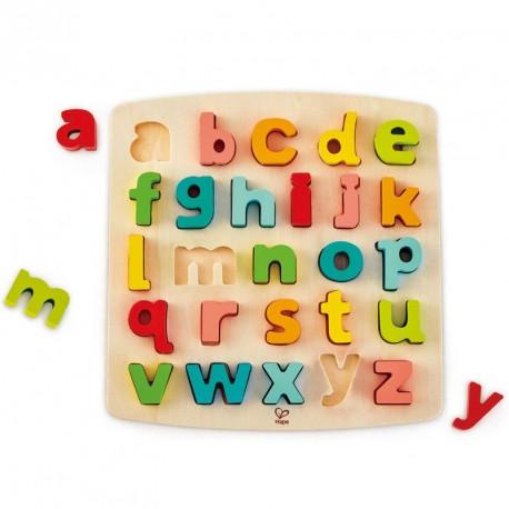 Puzzle encajable de madera Abecedario Minúsculas - 26 pzas.
