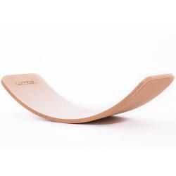 Wobbel Board Original - tabla curva de madera lacada transparente con corcho