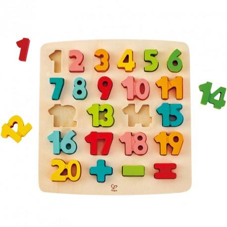 Puzzle encajable de madera números 1-20 - 23 pzas.