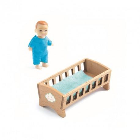 Cuna y bebé Sacha - Casita de muñecas