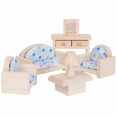 Sala de Estar Clásica de madera para casa de muñecas