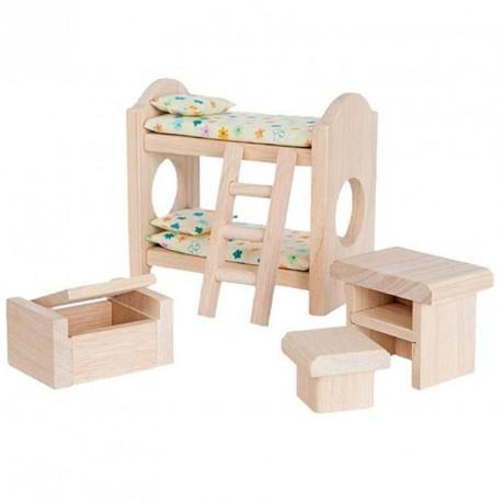 Habitaci n infantil cl sica de madera para casa de mu ecas - Casa de madera infantil ...