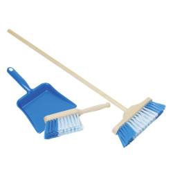 Recogedor, cepillo y escoba para jugar - Azul