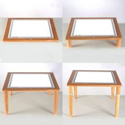 Mesa de Luz Led  60 x 60 con marco y patas de madera