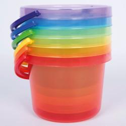 Set de 6 Cubos transparentes colores del arco iris