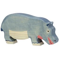 Hipopotamo pastando - animal de madera