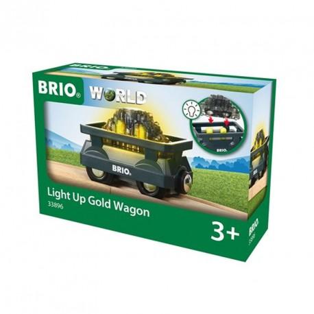 Vagón de oro luminoso para Circuito de tren de madera