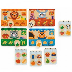Memo Loto Tiendas - juego de memoria de madera para 1-4 jugadores