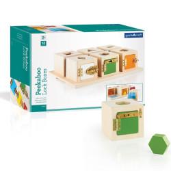 Peekaboo - cajas de madera con cerradura y formas ensartables