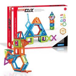 PowerClix marcos 48 piezas imantadas traslúcidas - juguete de formas geométricas