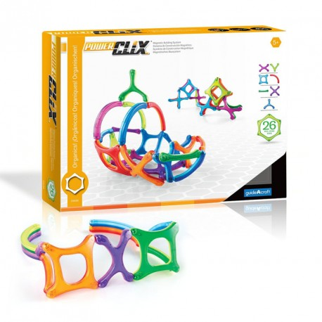 PowerClix Organics 26 piezas imantadas traslúcidas - juguete de formas geométricas