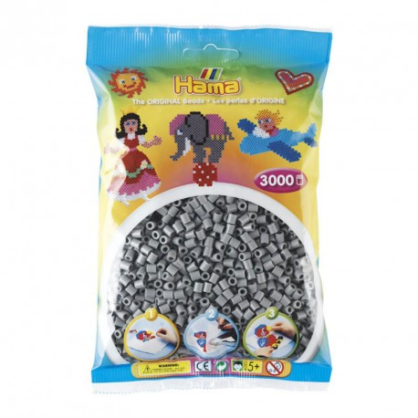 3000 perlas Hama de color gris (bolsa)
