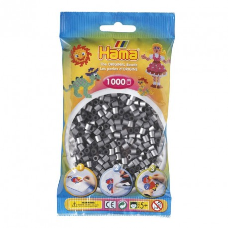 1000 perlas Hama de color plata (bolsa)
