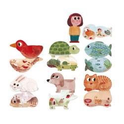 7 puzzles reversibles Amo a mis mascotas - 21pzas.