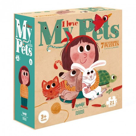 7 puzles reversibles Amo a les meves mascotes - 21pzas.