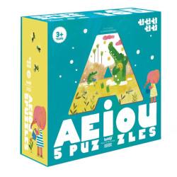 5 puzzles progresivos A E I O U - 3 a 7 piezas