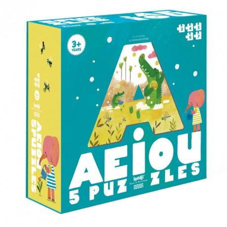 5 puzles A E I O U - 3 a 7 peces