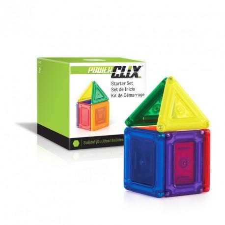 Set d'inici PowerClix sòlids 6 peces imantades transparents - joguina de formes geomètriques