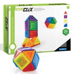 PowerClix sólidos 24 piezas imantadas traslúcidas - juguete de formas geométricas
